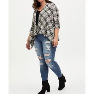 🆕 Black & Grey Plaid Drape Jacket 2X 18 20 NWT